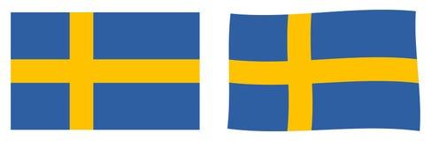 Königreich von Schweden-Flagge Einfache und etwas wellenartig bewegende Version vektor abbildung