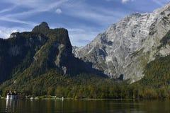 Lake Königssee with Watzman Mountains near Berchtesgaden, South-Bavaria, Germany Royalty Free Stock Photos