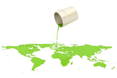 Können Sie mit der grünen Farbe, die auf der Karte Erde, Wiedergabe 3D verschüttet wird stock abbildung