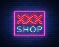 Könsbestämma modelllogoen, sexigt begrepp xxx för vuxna människor i neonstil Neontecken, designbeståndsdel, lagring, tryck, fasad Royaltyfria Foton