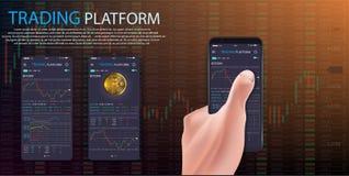 Köp Bitcoin Online-crypto betalningbegrepp Man den hållande smartphonen för handen med det guld- myntet, knappköp stock illustrationer