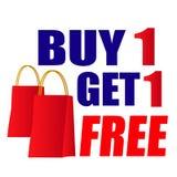 Köp ett får en shoppingpåse Arkivbild