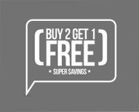 köp 2 får 1 fria försäljningsmeddelandebegrepp Arkivbild