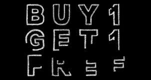 Köp 1 får 1 fria text på svart bakgrund stock video