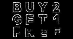 Köp 2 får 1 fria text på svart bakgrund arkivfilmer