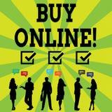 Köp för handskrifttexthandstil direktanslutet Elektronisk kommers för begreppsbetydelse som låter konsumenter direkt köpa gods royaltyfri illustrationer