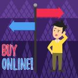 Köp för handskrifttexthandstil direktanslutet Elektronisk kommers för begreppsbetydelse som låter konsumenter direkt köpa gods vektor illustrationer