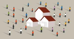 Köp hem- hus royaltyfri illustrationer
