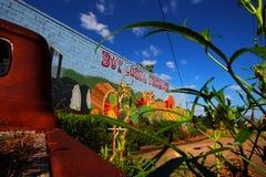 Köp lokal jordbruksprodukter på de lokala bönderna marknadsför arkivfoto