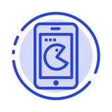 Köp mobil, telefon, blå prickig linje linje symbol för maskinvara stock illustrationer