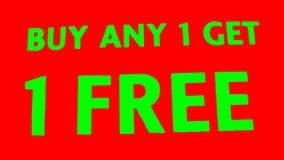 Köp någon 1 får 1 FRIA lagerkupong, erbjudandet, försäljningstecken Royaltyfri Bild