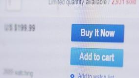Köp nu knappmusklicken för online-lager stock video
