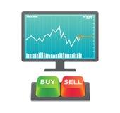 Köp och sälj knappar med materieldiagrammet Vektor Illustrationer