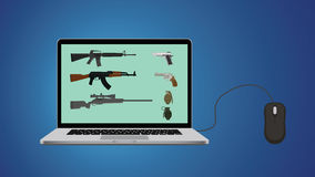 Köp online-vapenwebsiteillustrationen med riffle- och anteckningsbokmusen Royaltyfria Bilder