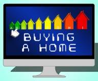 Köpa ett hem som föreställer den Real Estate 3d illustrationen Vektor Illustrationer