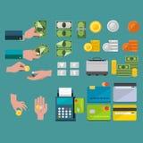 Köpa och sälja med pengar - symbolsuppsättning Arkivbild