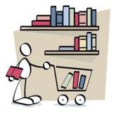 Köpande böcker för rolig grabb online Arkivbilder