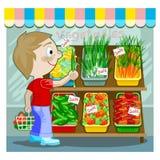 köpande manproducebarn stock illustrationer
