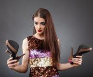 Köpande skor arkivfoto