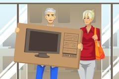 Köpande TV för par stock illustrationer