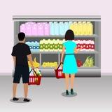 köparear shoppa i supermarket royaltyfri illustrationer