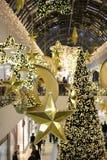 Köpcentrum på jultid Arkivbild