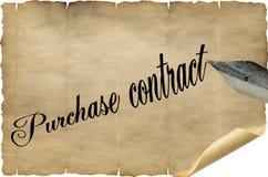 Köpekontrakt som är på engelska med pennan arkivbilder