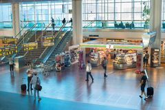 Köpenhamn för korridor för passagerareKastrup flygplats Royaltyfria Bilder