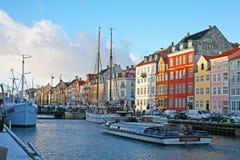 Köpenhamn för Nyhavn strandområde Arkivfoton
