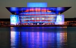 Köpenhamnopera på natten (blått) Arkivfoto