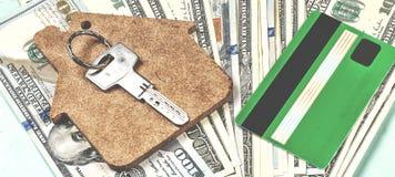 Köpet av hus på kreditering Arkivfoton