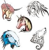 Köpfe des Wolfs, des Eisbären, des Einhorns, des Pferds und des Stiers Stockbild