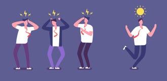 Kör från negativt folk Lycklig affärsperson som är rinnande bort av ilskna giftliga coworkers Olycklig miljö för kontorsarbete vektor illustrationer