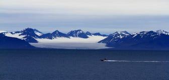 Kör i den arktiska fjorden Fotografering för Bildbyråer