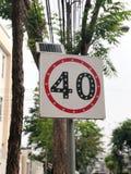 Kör inte över 40km Arkivbild