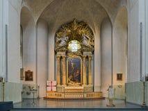 Kör och altare av Hedvig Eleonora Church i Stockholm, Sverige royaltyfri fotografi