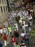 Köra av tjurarna i Pamplona Royaltyfri Foto