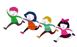 Köra för fyra barn Arkivfoto