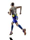 Köra för löpare för idrottsman nen för man för mantriathlonjärn Arkivbild
