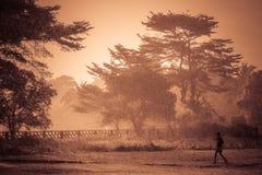 Köra i regnet Arkivbilder