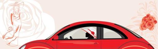Köra kvinnan en röd bil på de abstrakta modelodisarna Arkivfoton