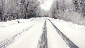 Köra till och med vinterskogen på den snöig vägen, första sikt Kamera utanför fönstret på steadicam Körning av pov på arkivfilmer