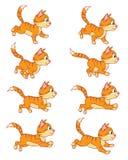 Körande Cat Animation Sprite Royaltyfri Bild