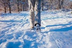 Körande idrottsman nenman som sprintar i yttersida för vinterskogutbildning i kallt snöig väder Aktiv sund livsföring royaltyfri foto