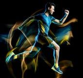 Körande jogger för löpare som joggar man isolerat ljus som målar svart bakgrund arkivfoto