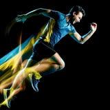 Körande jogger för löpare som joggar man isolerat ljus som målar svart bakgrund royaltyfri foto