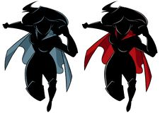 Körande kontur för Superheroine stock illustrationer