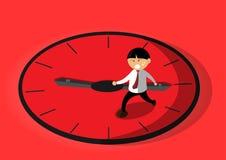 Körande man på klockavektor royaltyfri illustrationer