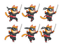Körande Ninja Cat Animation Sprite Royaltyfri Foto