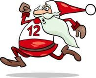 Körande Santa Claus tecknad filmillustration Arkivfoto